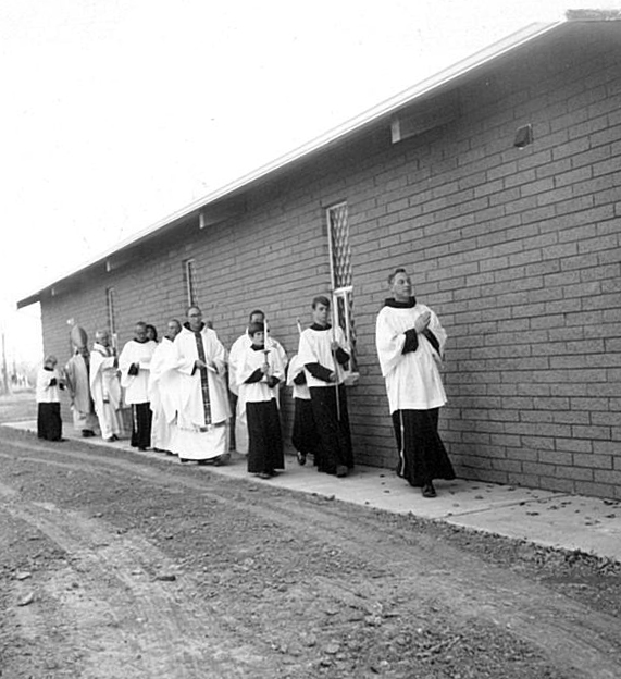 Procession at the dedication Mass for the current church.