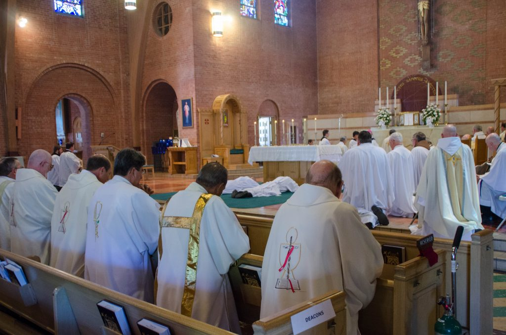 Deacons of the Diocese, foreground, look on during the ordination of two men, who are about to join their ranks.