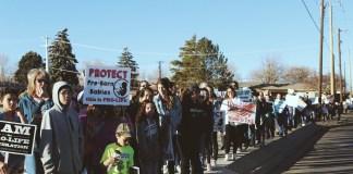 Pro-life marchers in Farmington, NM.