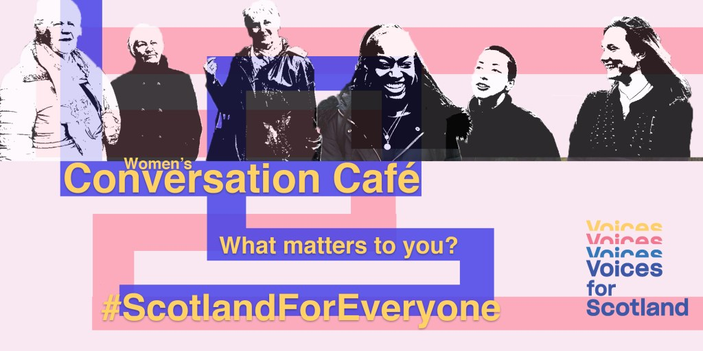 Banner for Voices for Scotland Conversation Cafe on 16 November at Quaker Hall in Edinburgh