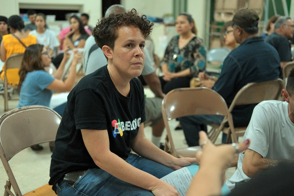Above: Community organizer Andrea Donado for Interfaith Community Organization (ICO) listens to community members suggest ways the Los Angeles Sheriff's Department should be reformed on August 28, 2019 . Photo by Michael Lozano.