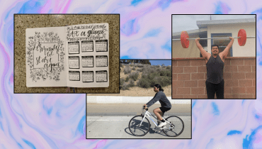Three photos are laid out over a light pink and baby blue background. From left to right: a detailed bullet journal, a young woman riding a bike along a road and hills, and a young man lifting a weight over his head.