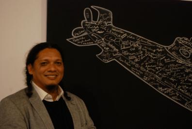 Esterio Segura on opening night of his exhibit at MOLAA on Nov. 22.