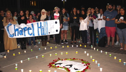 Vigil for murdered Chapel Hill students at CSULB on Feb. 20.