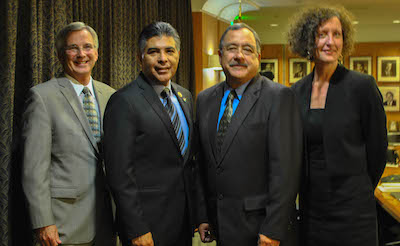 """From left to right: David Rattray, Rep. Tony Cardenas (D-CA 29th), Avelardo Valdez and Lenore Anderson prepared to speak at the panel on """"The Growth of Incarceration Rates in the United States,"""" an NRC report at the Los Angeles Chamber of Commerce Thursday."""