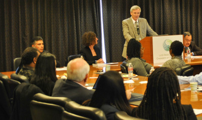 "David Rattray made some opening remarks at the panel on ""The Growth of Incarceration Rates in the United States,"" an NRC report at the Los Angeles Chamber of Commerce Thursday."