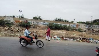Trash on the roads of Karachi