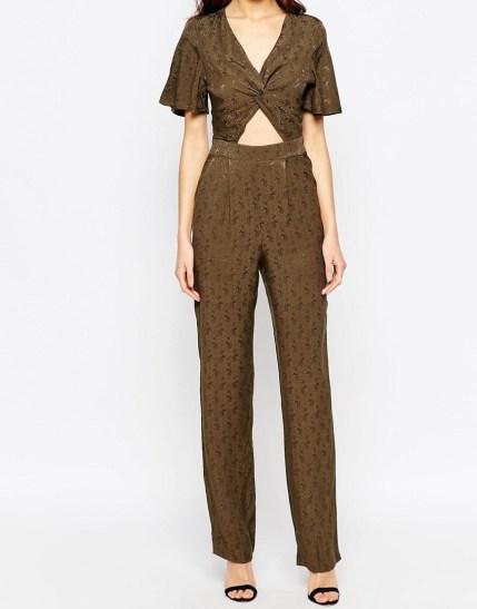 Millie Mackintosh Khaki Cut Out Jumpsuit $81, at asos.com