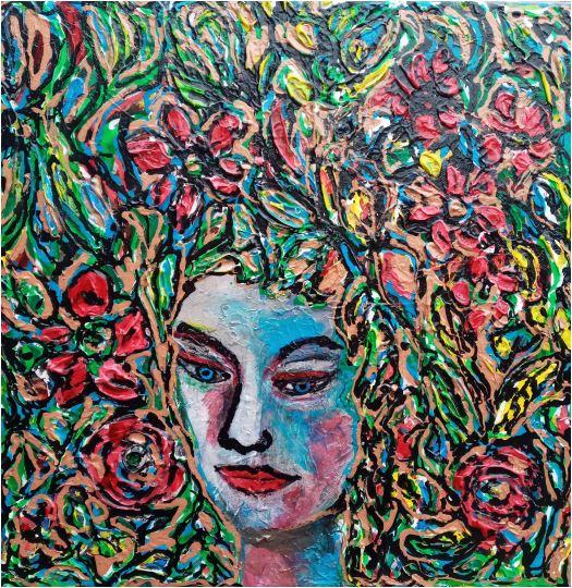 Portrait in Blumen