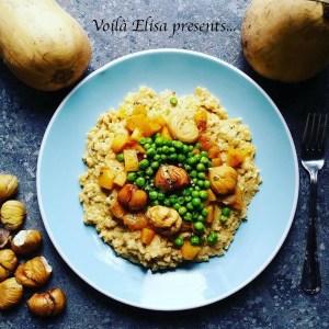 risotto_vegano_italiano_sin_lactosa_sin_queso_sin_gluten_intolerancias_calabaza_guisantes_castañas_arroz_integral_coco
