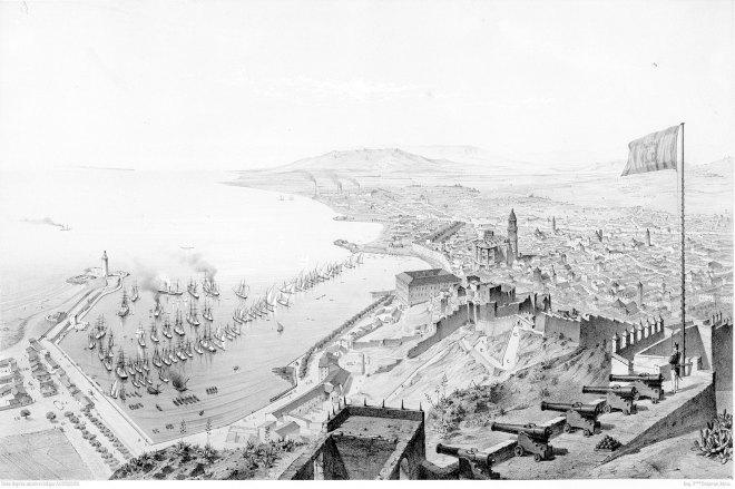 vue malaga 1870 guesdon du château de gibralfaro