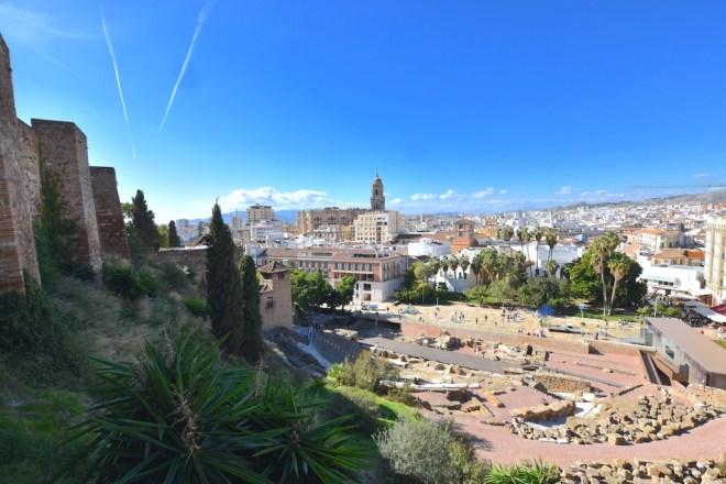 view malaga roman theatre cathedral alcazaba
