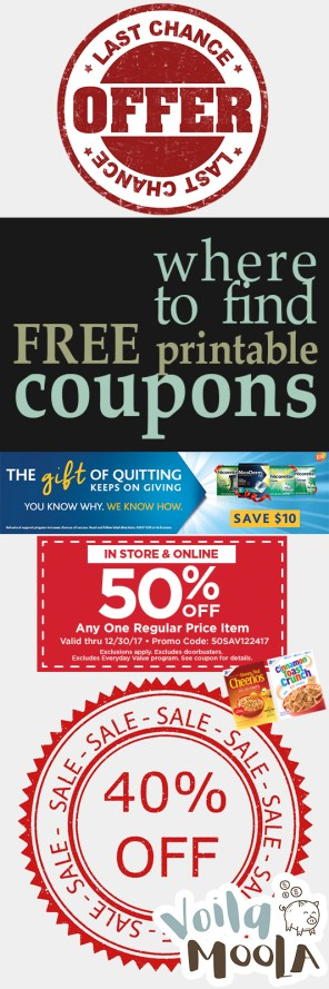 Where to Find FREE Printable Coupons - Voila Moola| Printables, Printable Coupons, Save Money, Save Money Shopping, Shopping Hacks, Save Money With Coupons, Free Printables #PrintableCoupons #SaveMoney