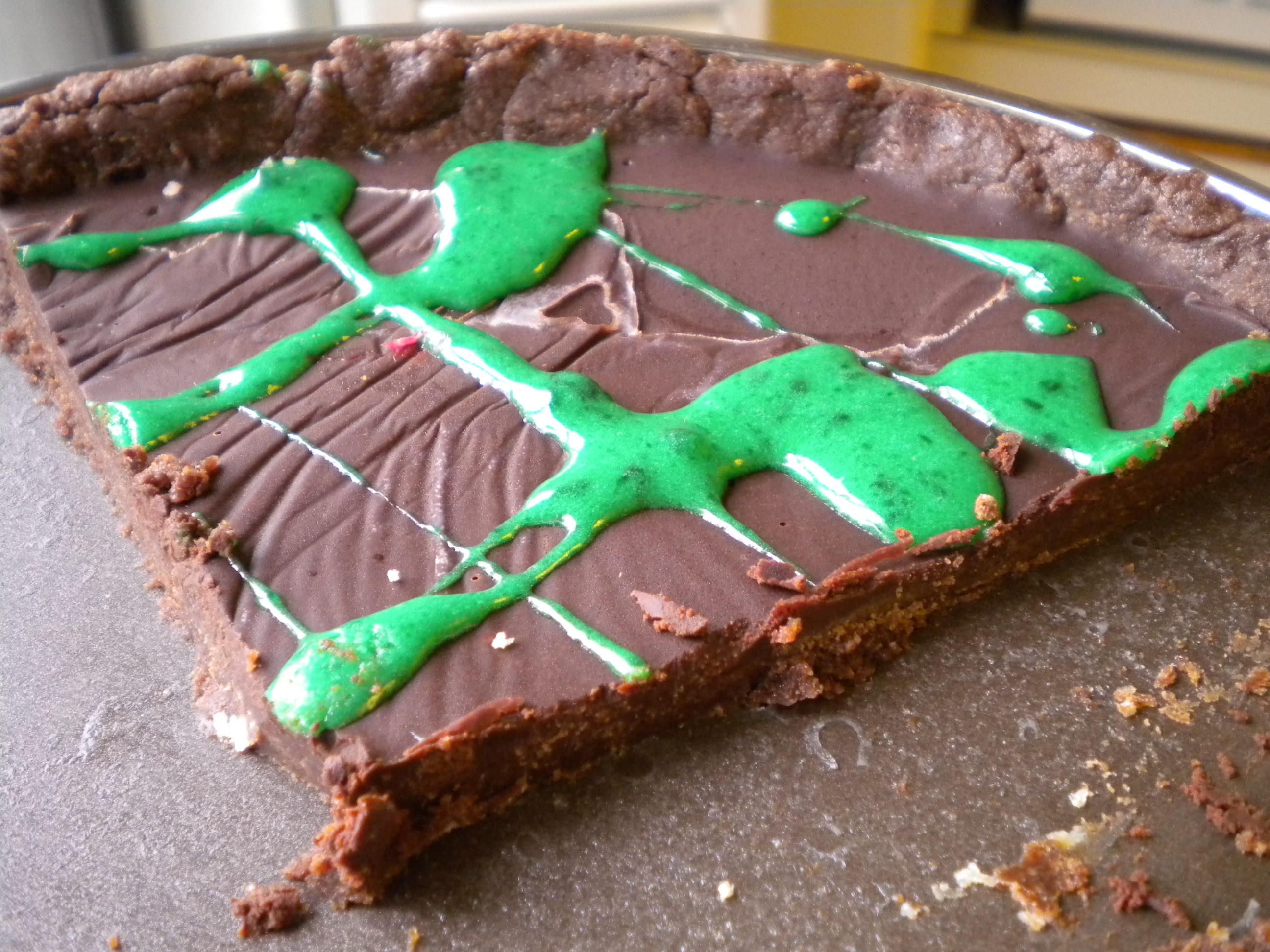 dark chocolate mint tart with marshmallow sauce