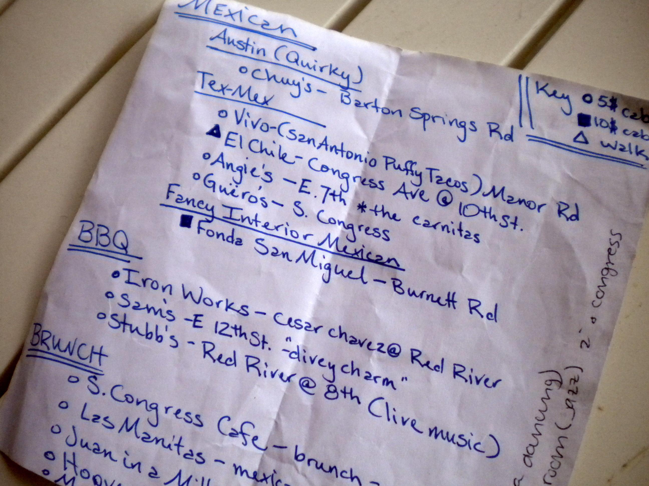 restaurant suggestions