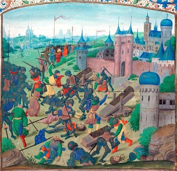 Битката при Никопол Жан Фройсарт (Jean Froissart), Chroniques, Flandre, Bruges, XVe s. (Bibliothèque nationale de France, FR 2646) fol. 220