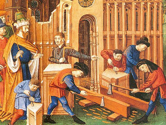 Членове на Compagnons du Devoir работят. Изображение: MUSÉE DU COMPAGNONNAGE DE TOURS