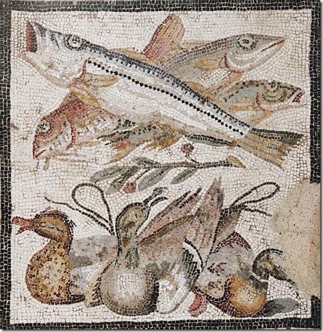 Poissons et canards, mosaïque romaine