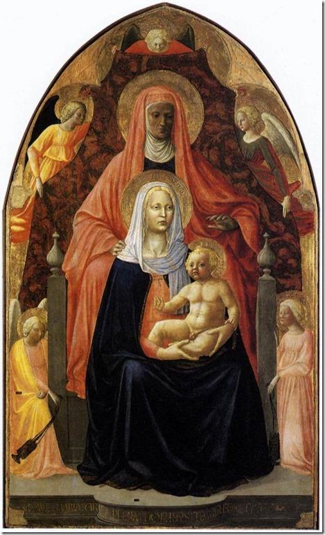 Sainte Anne, la Vierge à l'Enfant et cinq anges (1424), Masaccio et Masolino, Galerie des Offices, Florence