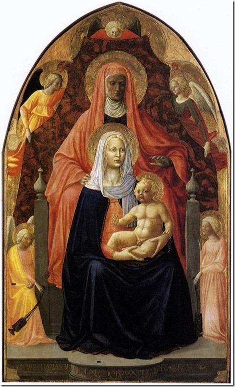 Sainte Anne, la Vierge à l'Enfant et cinq anges (1424) par Masaccio et Masolino, Galerie des Offices, Florence