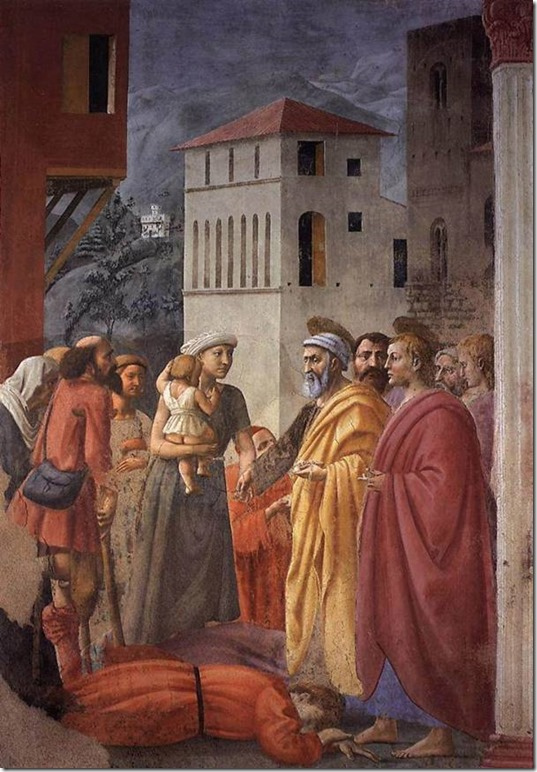 Saint Pierre distribuant l'aumône et la Mort d'Ananie, Masaccio, Chapelle Brancacci, Santa Maria del Carmine, Florence