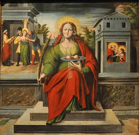 Sainte Agathe sur le retable de Ramon Oscariz