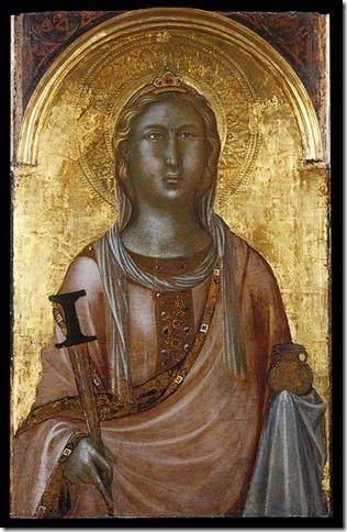 Sainte Lucie, partie gauche d'un retable siennois du milieu du XIVe siècle