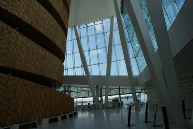 Vue de l'intérieur de l'opéra d'Oslo