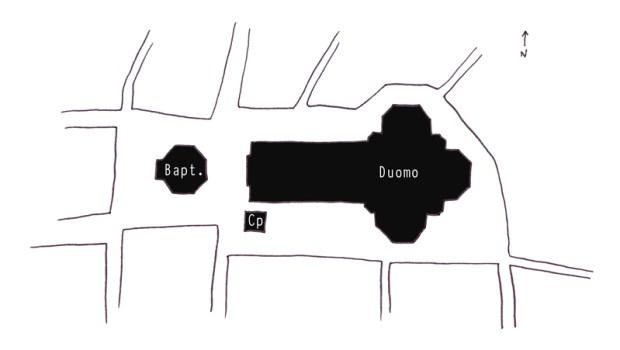 Plan de la place du Duomo
