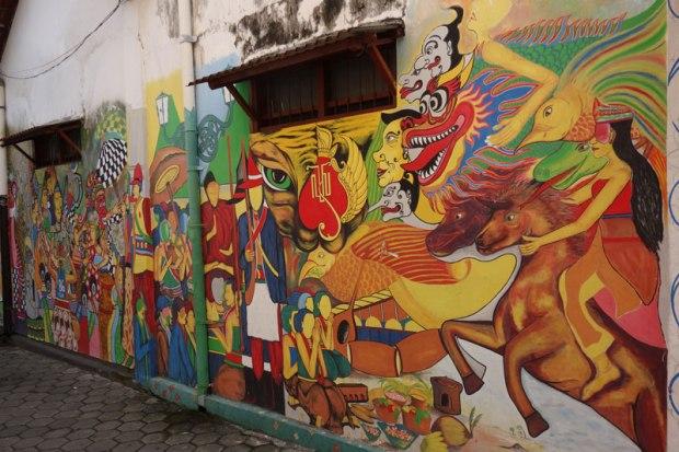 Fresque murale d'inspiration Batik