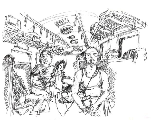 Dans le train pour Ayutthaya, dessin personnel