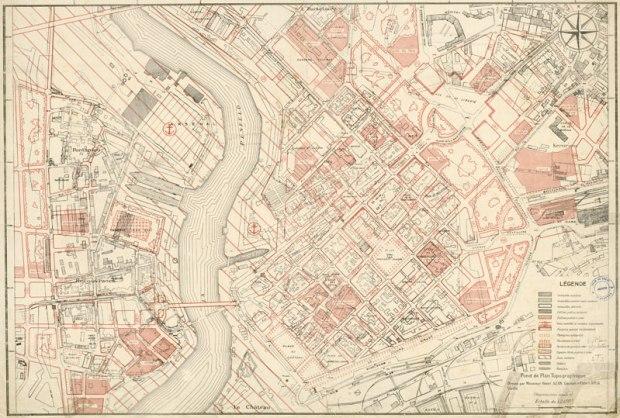 Plan de la reconstruction réalisé par Jean-Baptiste Mathon (Source : Archives de Brest)