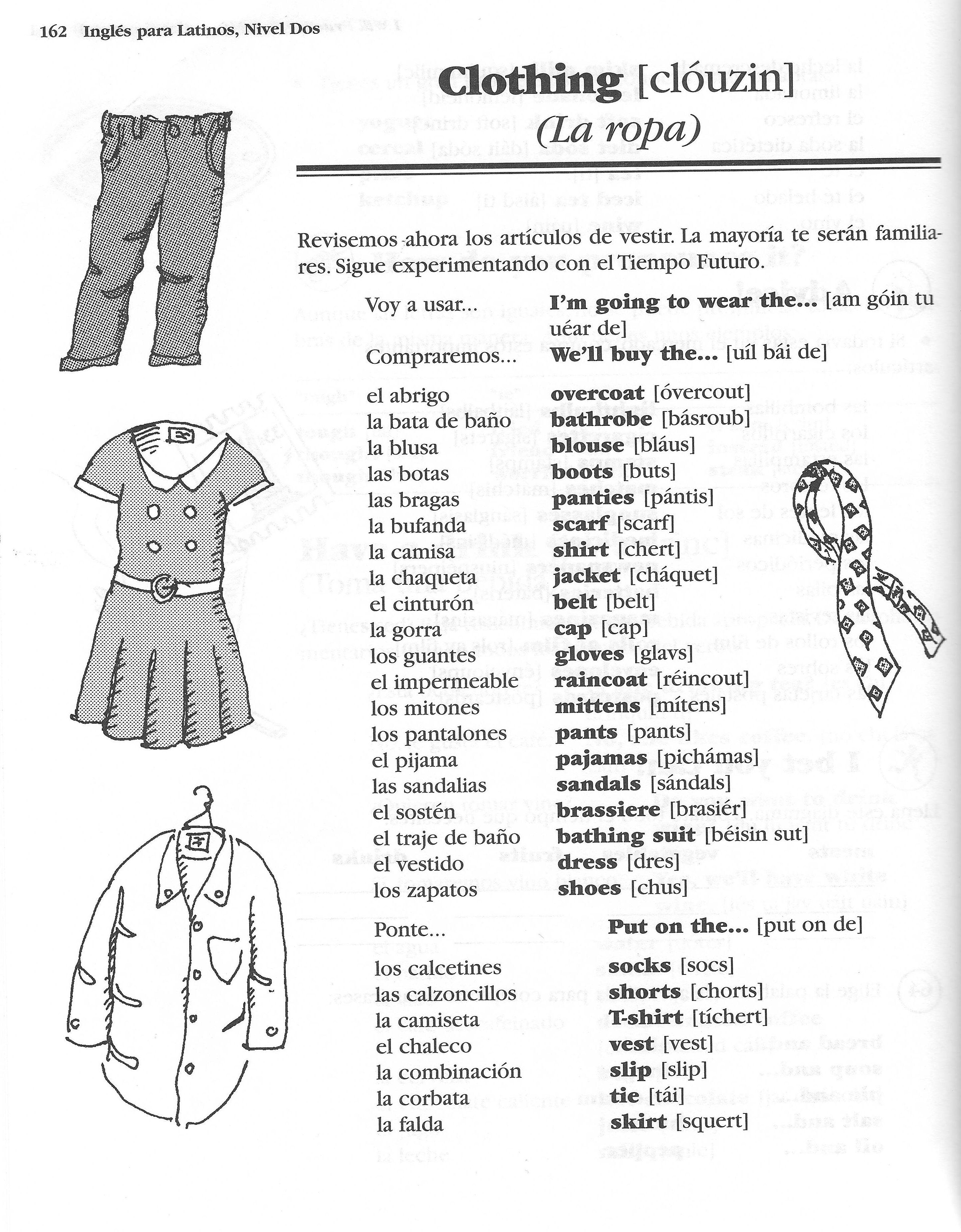 La Ropa Spanish Crossword Answers