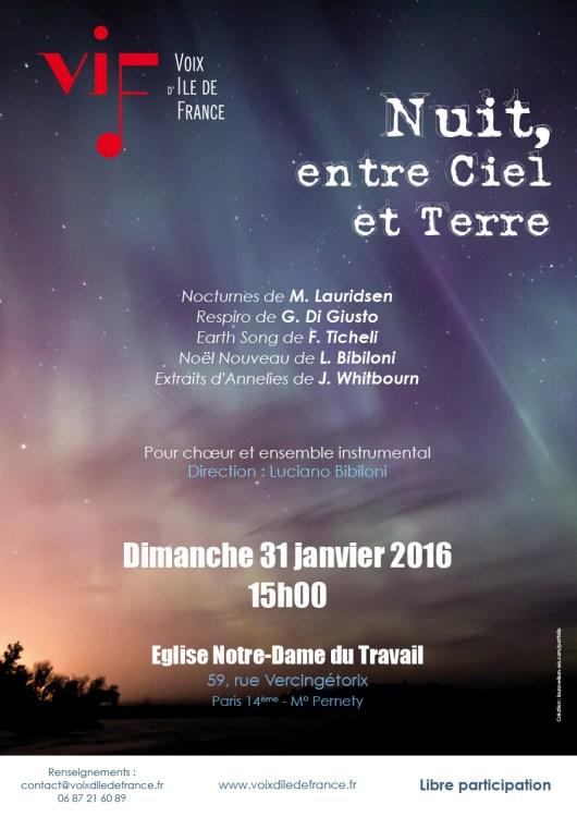 Affiche Nuit entre ciel et terre janvier 2016