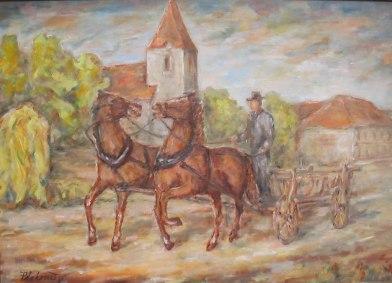 Voz s koňmi pred kostolom