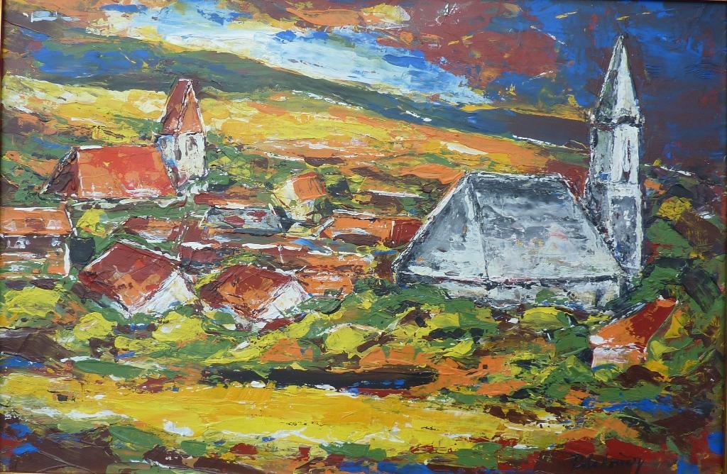 Panoráma Rače s kostolmi (maľba špachtľou)