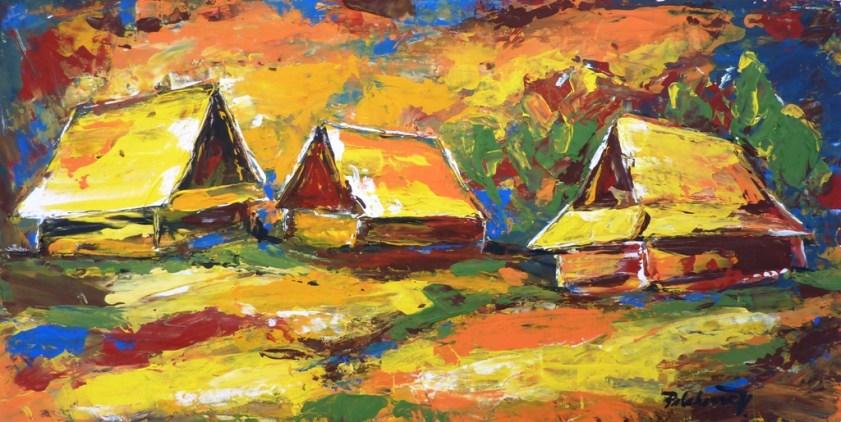 Stodoly pod lesom (maľba špachtľou)