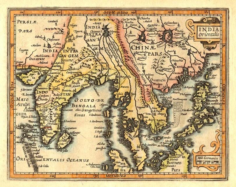 ផែនទីអាស៊ីអាគ្មេយ៍គូរដោយ លោក Gerardus Mercator និង លោក Jan Hondius នៅឆ្នាំ ១៦០៩ បង្ហាញ កូស័ងស៊ីន នៅតំបន់ តុងកឹង គឺ ហាណូយ ភាគខាងជើង ប្រទេសវៀតណាម សព្វថ្ងៃ ។