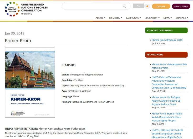 គេហទំព័រ UNPO ដាក់បង្ហាញព័ត៌មាន អំពីការចូលជាសមាជិក UNPO របស់សហព័ន្ធខែ្មរកម្ពុជាក្រោម ។ រូបៈ Screenshot-unpo.org