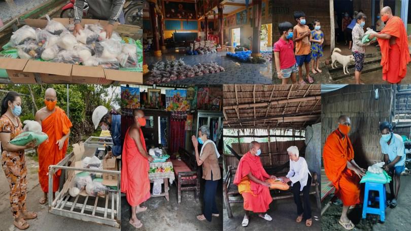 ព្រះសង្ឃខ្មែរក្រោម ចែកអំណោយដល់ពុទ្ធបរិស័ទ នៅក្នុងចំណុះជើងវត្តរបស់ខ្លួន ដែលរងផលប៉ះពាល់ដោយសារអាជ្ញាធរវៀតណាម អនុវត្តវិធានការបិទខ្ទប់ភូមិ ដើម្បីការពារការរីករាលដាលនៃជំងឺកូវីដ-១៩ ។ រូបៈ ហ្វេសប៊ុក ព្រះតេជព្រះគុណ Khmer Srey Pheap