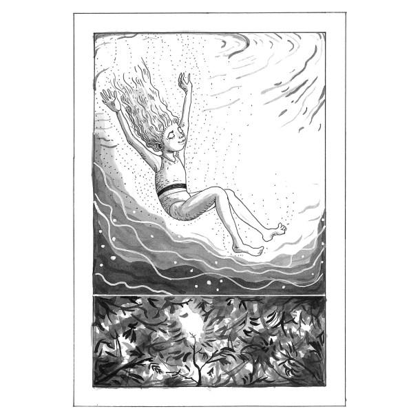 L'estate è il secondo racconto del libro Il cacciatore di fari di Chiara Mancinelli (Robin, 2020), illustrato da Jana Kalc.