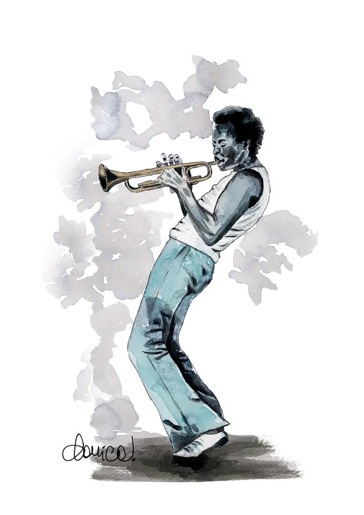 Miles Davis, acquarello di Daniela Calandra