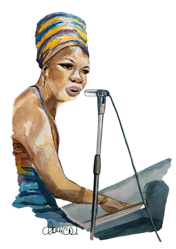 Nina Simone,  acquarello di Daniela Calandra