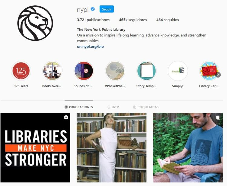 Instagram della Biblioteca pubblica di New York