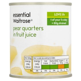 Pear quarters in fruit juice