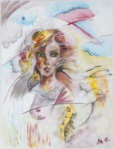 Autorportrait 0 - Crayon et aquarelle sur papier - 32 x 24 cm _ Femme, couleurs vives