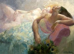 Emilia Castaneda - Une peau de jasmin et de cannelle - huile sur toile