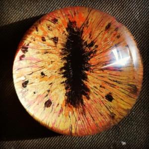 Claudine Santelli_presse papier oeil de dragon-peinture sous verre- 8cm diamètre