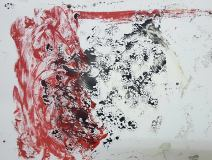 Monotype en rouge et noir