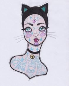 belette-catwoman-dessin-acrylique